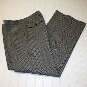 Ann Taylor Size 8 Wool Blend Grey Plaid Pants